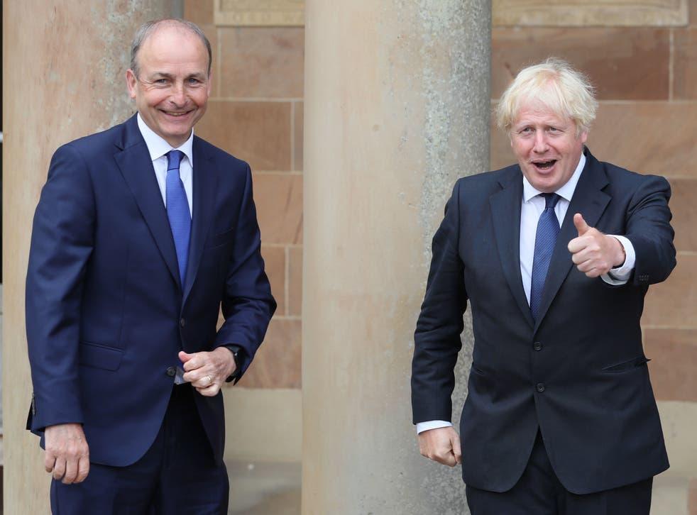 <p> Micheal Martin with Boris Johnson in 2020</p>