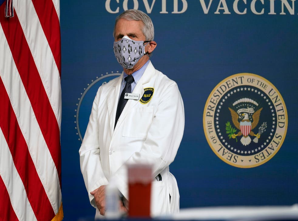 <p>Dr. Anthony Fauci, director of the National Institute of Allergy and Infectious Diseases, in the South Court Auditorium on the White House campus, Thursday, Feb. 25, 2021, in Washington. </p>
