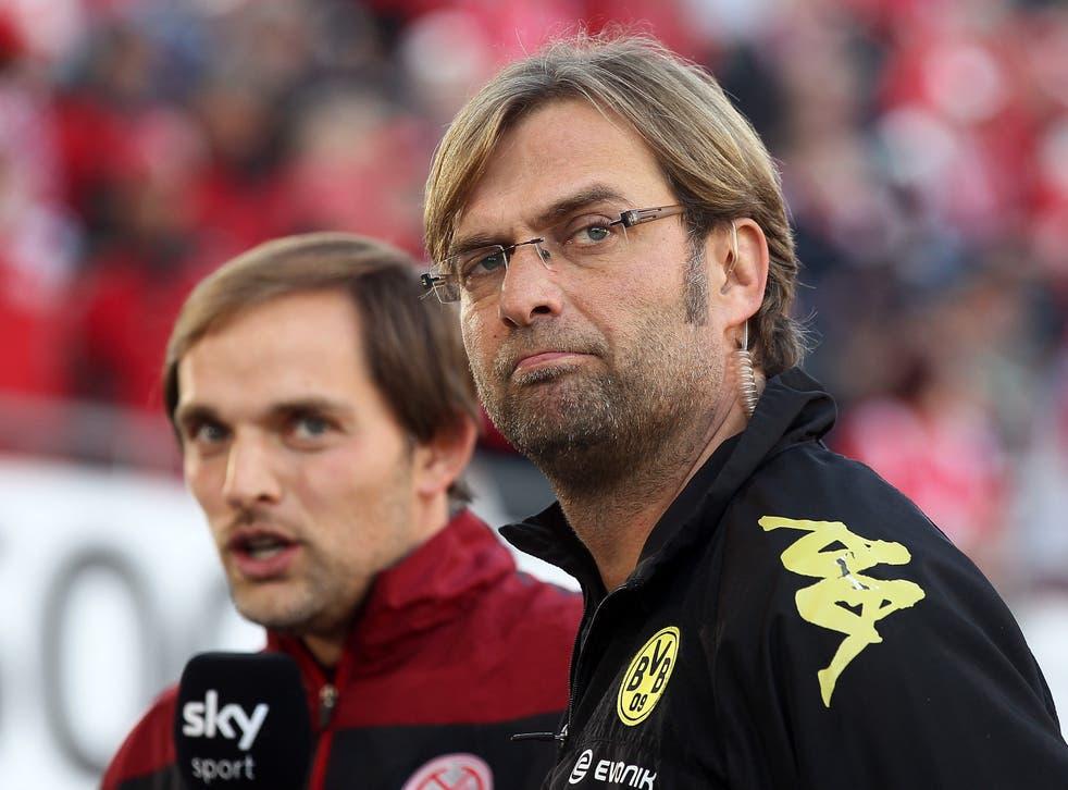 Former Mainz head coach Thomas Tuchel and former Dortmund head coach Jurgen Klopp