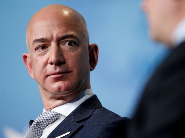 <p>Jeff Bezos, founder and CEO of Amazon, speaks during an address to attendees at Access Intelligence's SATELLITE 2017 conference in Washington, on 7 March 2017</p>