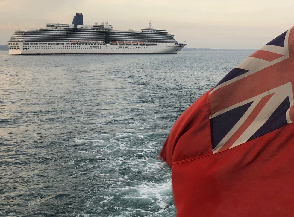 Departing soon? P&O Arcadia at anchor off Poole in Dorset