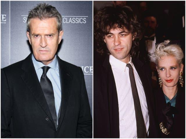 Rupert Everett in 2018, and Bob Geldof and Paula Yates in 1986