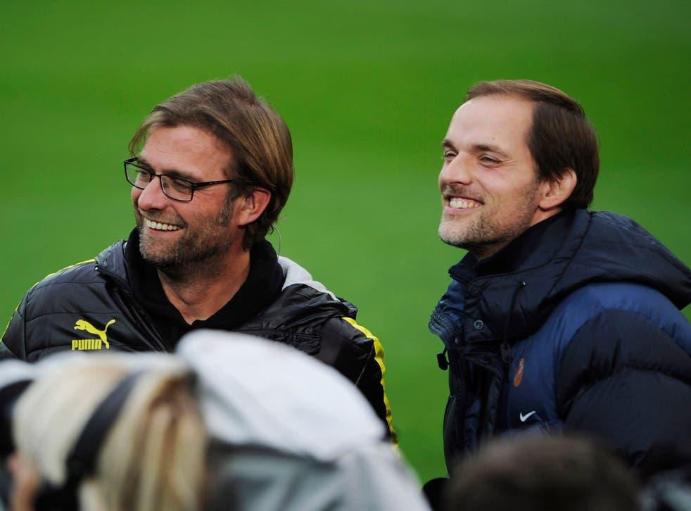 <p>Jurgen Klopp during his time at Dortmund against Thomas Tuchel and Mainz</p>