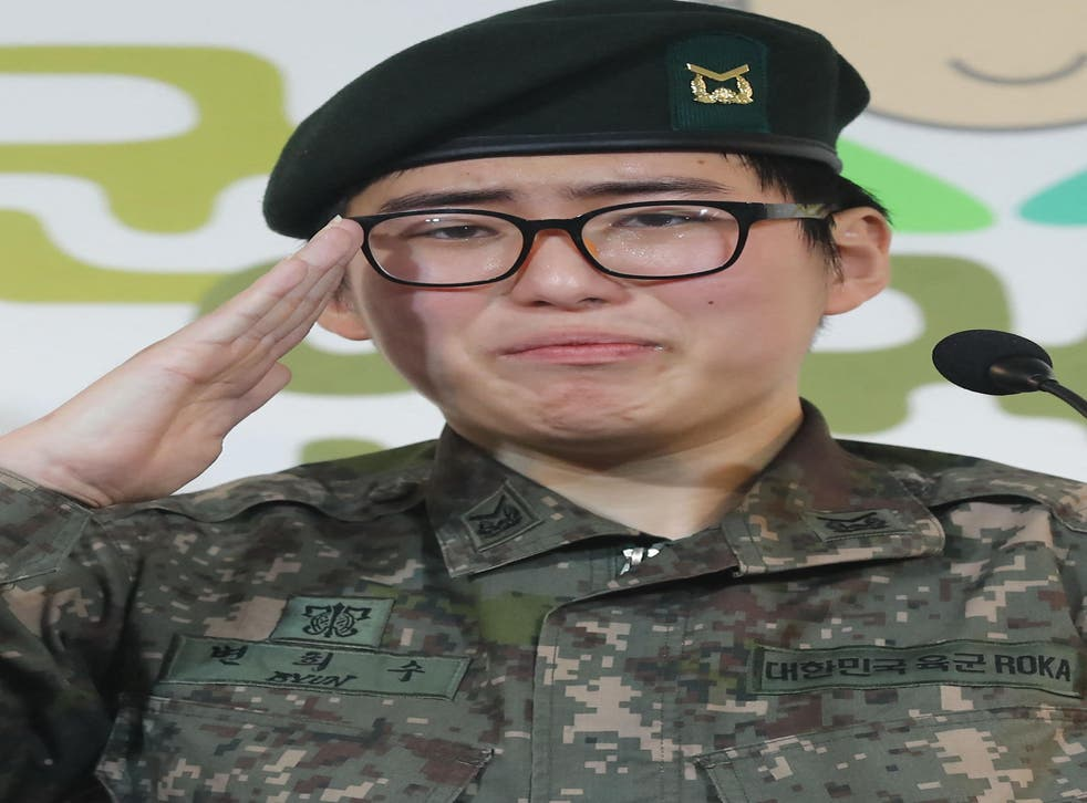 <p>Byun Hee-soo appearing at a press conference where she appealed to be allowed to stay in the army</p>