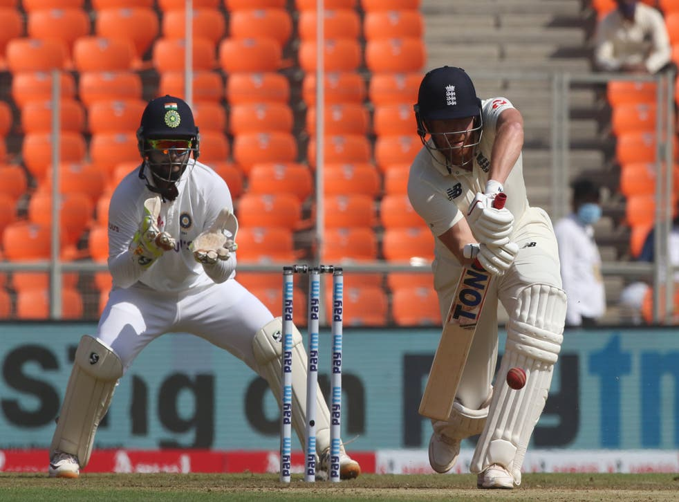 Jonny Bairstow bats during day one of the fourth Test in India