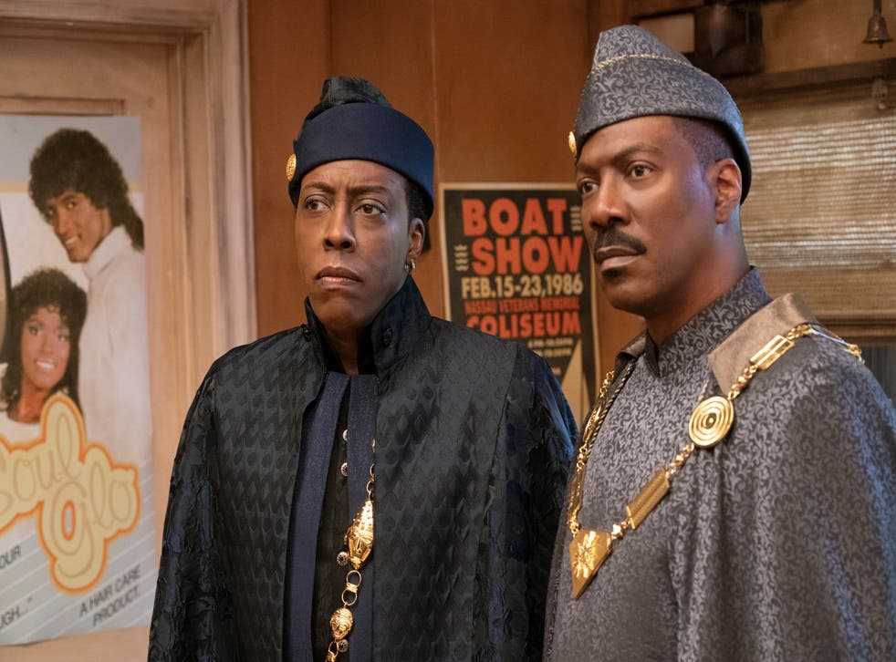 <p>Eddie Murphy and Arsenio Hall are as buoyant as ever as Akeem and his aide Semmi</p>