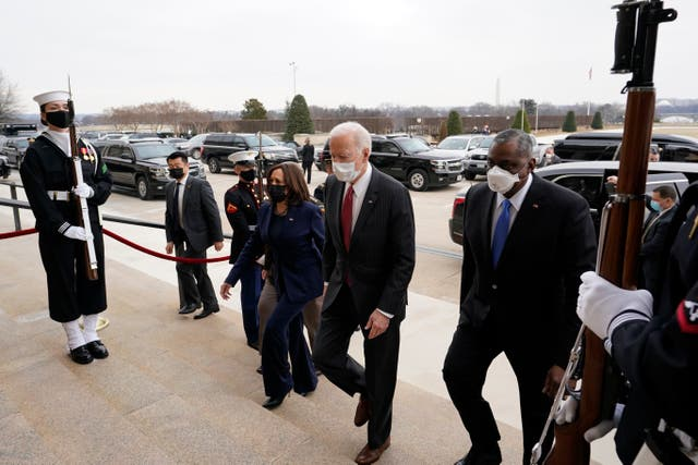 President Joe Biden and Vice President Kamala Harris and Secretary of Defense Lloyd Austin at the Pentagon on 10 February, 2021