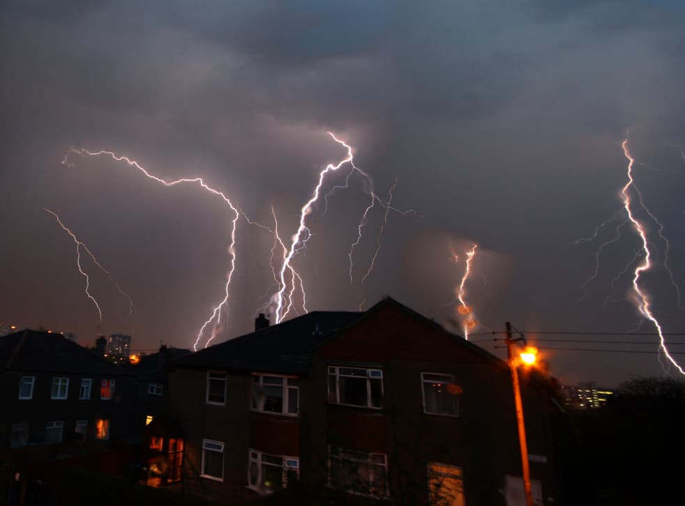 Multiple bolts of lightning flash in Glasgow during a thunderstorm