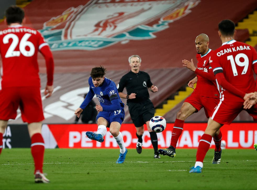 <p>Mason Mount's goal separated the sides at Anfield</p>