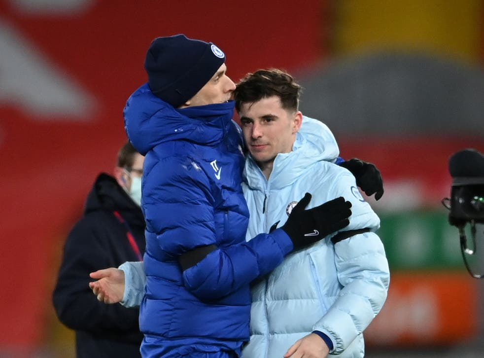 Chelsea coach Thomas Tuchel with goalscorer Mason Mount