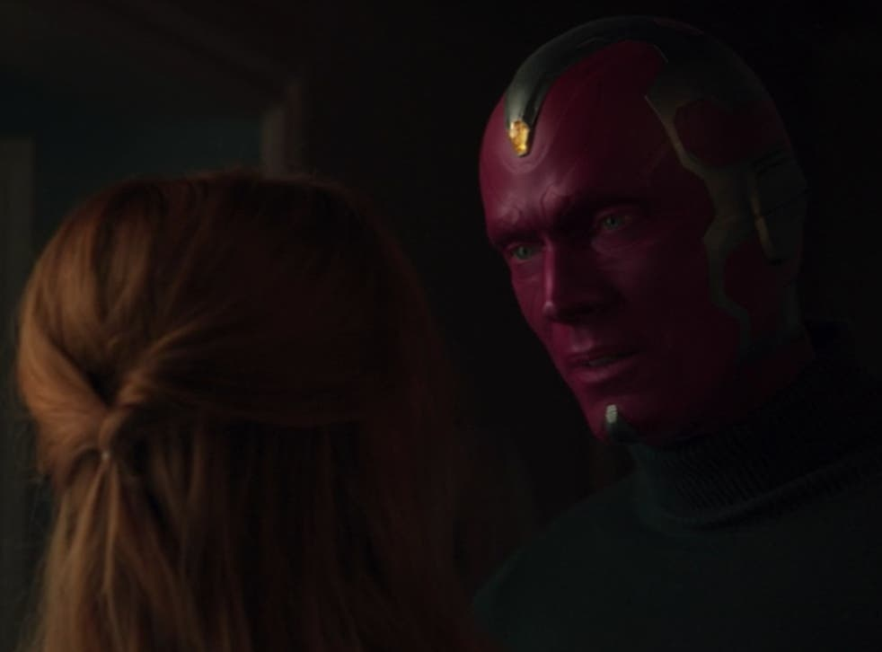 <p>Wanda saying goodbye to Vision in the 'WandaVision' finale</p>