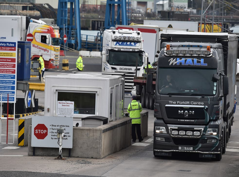 <p>Port staff check freight arriving in Larne, Northern Ireland </p>