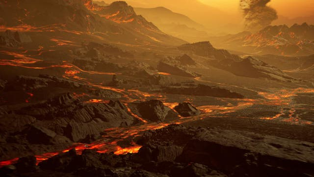 Impresión artística de la superficie de la super-Tierra caliente recién descubierta Gliese 486b. Con una temperatura de aproximadamente 700 Kelvin (430 ° C), los astrónomos del Consorcio CARMENES esperan un paisaje cálido y seco similar al de Venus intercalado con ríos de lava resplandecientes.