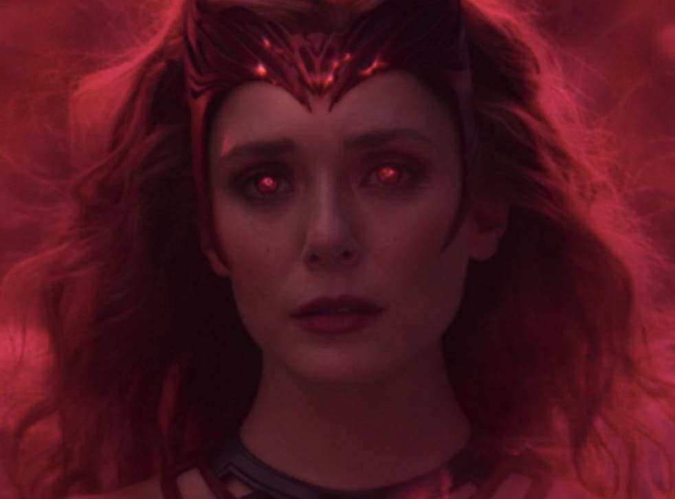 <p>Wanda transforms into the Scarlet Witch in the 'WandaVision' finale</p>