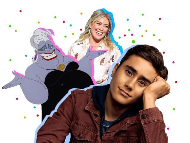 <p>Ursula en La Sirenita, Hilary Duff en una presentación de Disney Plus en 2019, y la estrella de Love, Victor Michael Cimino</p>