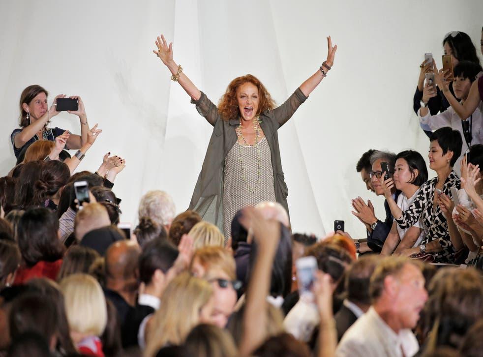 <p>Designer Diane Von Furstenberg walks the runway during New York Fashion Week</p>