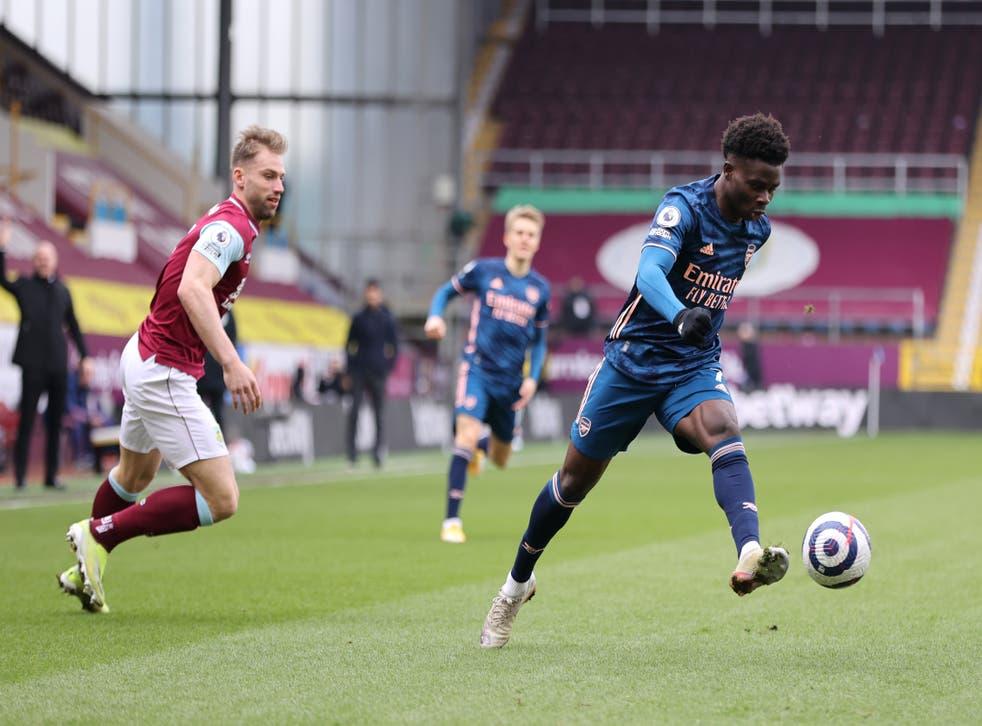Bukayo Saka in action against Burnley