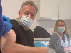 Piers Morgan has first Covid jab and praises 'efficient' NHS staff