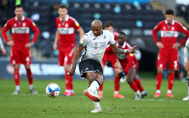 Andrew Ayew scores from the penalty spot