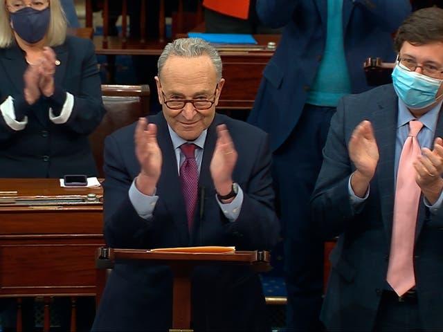<p>Los aplausos estallaron en el Senado este sábado tras la aprobación.   </p>
