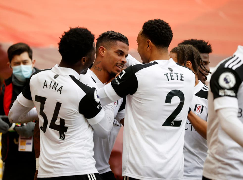 <p>Mario Lemina celebrates scoring for Fulham </p>