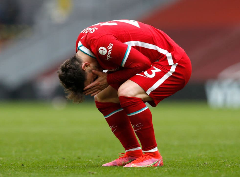 <p>Xherdan Shaqiri reacts during Liverpool's defeat</p>