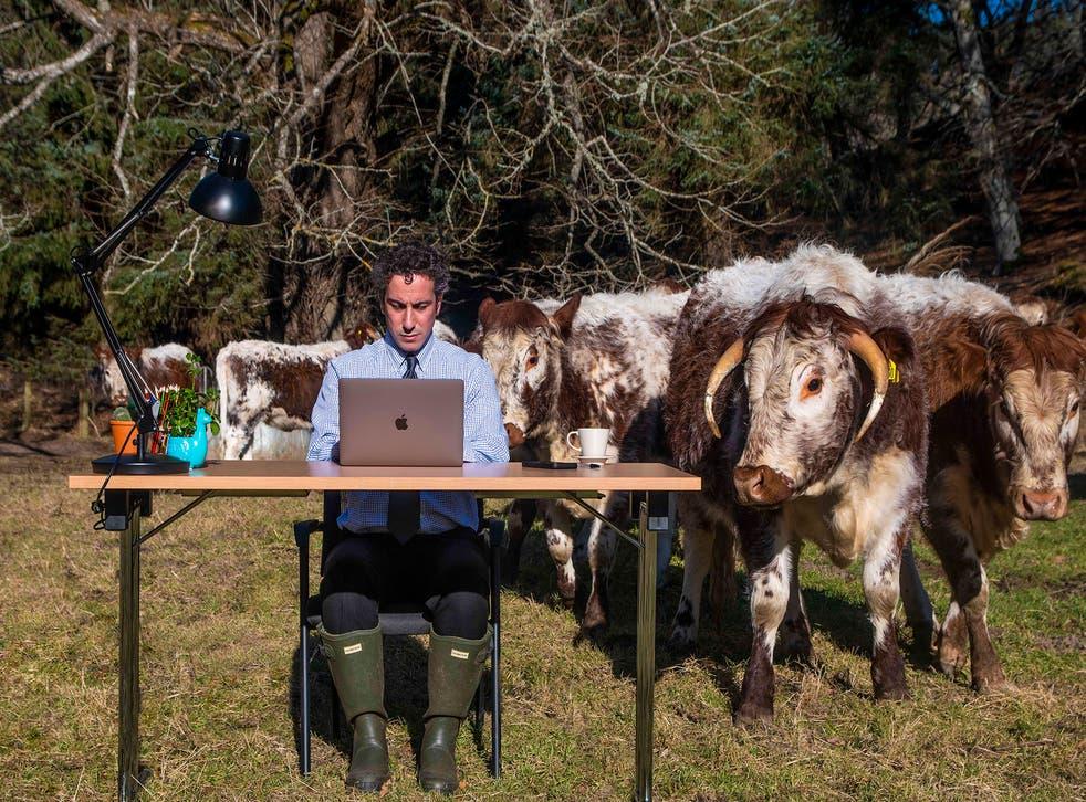 Stephen Nasrat at desk in field