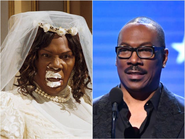 Eddie Murphy in 2007's Norbit (left) and pictured in 2020 (right)