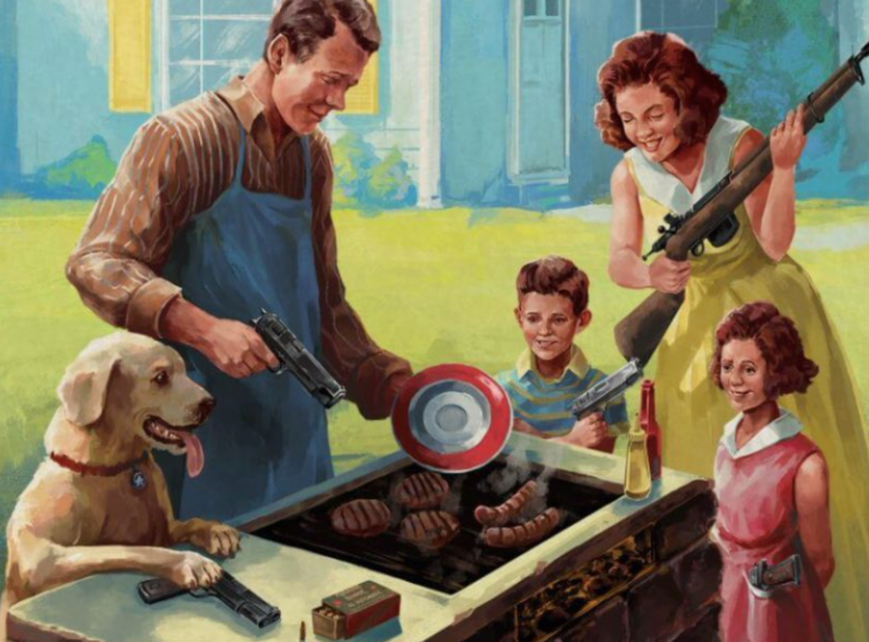 <p>The image is actually a cover for the video game The American Dream, which is a satire about gun culture  </p>
