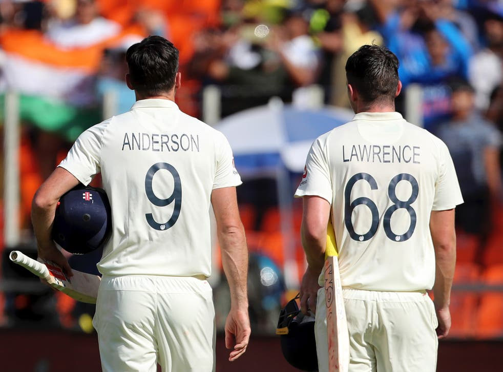 England cricketers James Anderson and Dan Lawrence