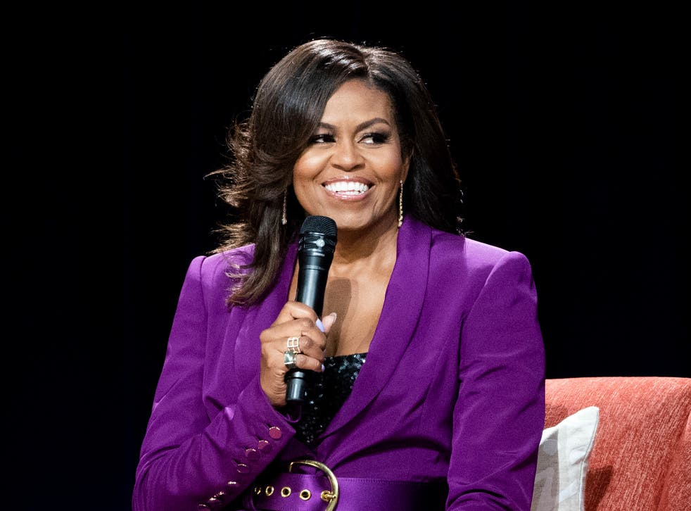 <p>Michelle Obama speaking at an appearance in Atlanta</p>