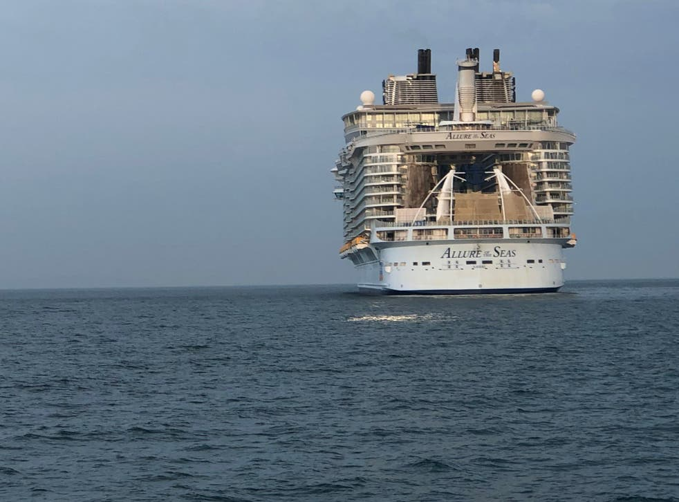 At rest: Royal Caribbean's Allure of the Seas off Bournemouth in Dorset
