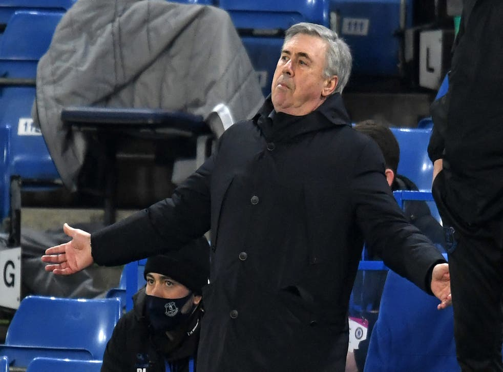 <p>Carlo Ancelotti gestures on the touchline</p>