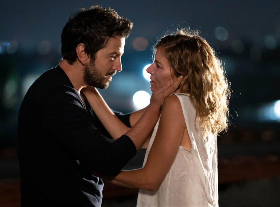 <p>Til death us do part?: Matteo (Diego Luna) and Adrienne (Sienna Miller)</p>