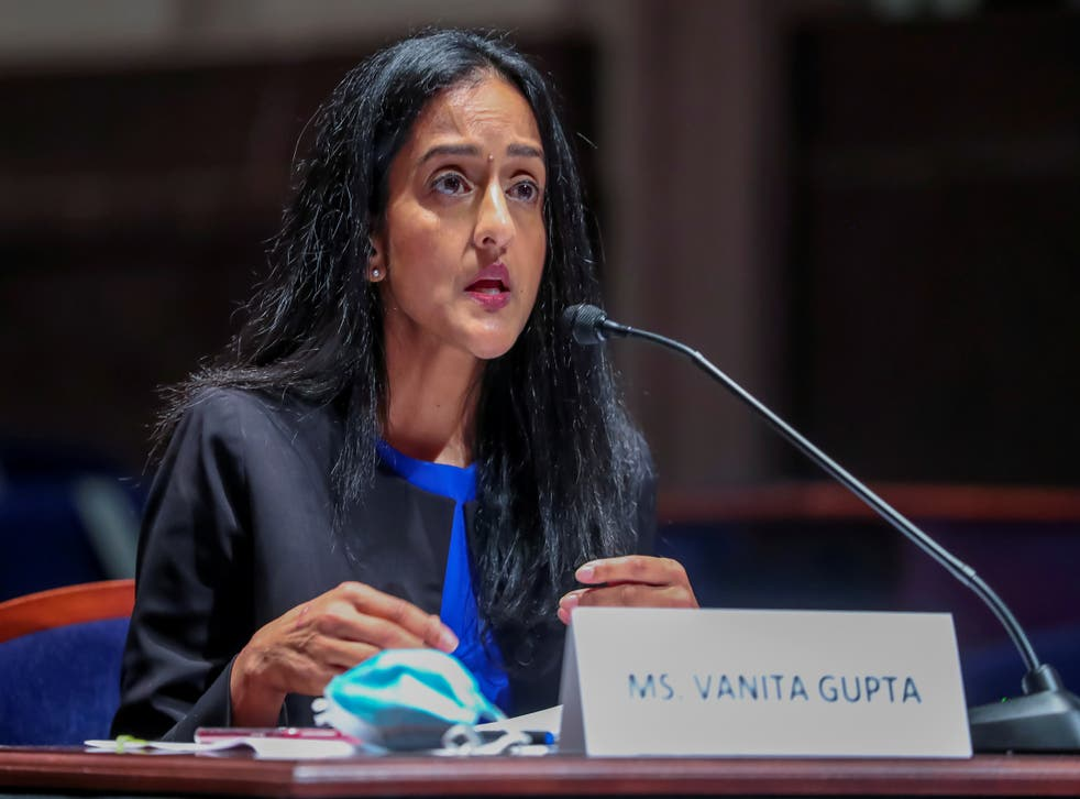 <p>President of the Leadership Conference on Civil and Human Rights Vanita Gupta speaks during the House Judiciary Committee hearing on Policing Practices and Law Enforcement Accountability at the U.S. Capitol in Washington, DC, U.S. June 10, 2020. Michael Reynolds/Pool via REUTERS/File Photo</p>