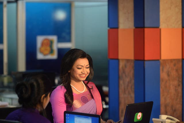 <p>Tashnuva Anan Shishir, claimed to be Bangladesh's first transgender television news presenter, presents the news at a news studio in Dhaka on March 8, 2021</p>