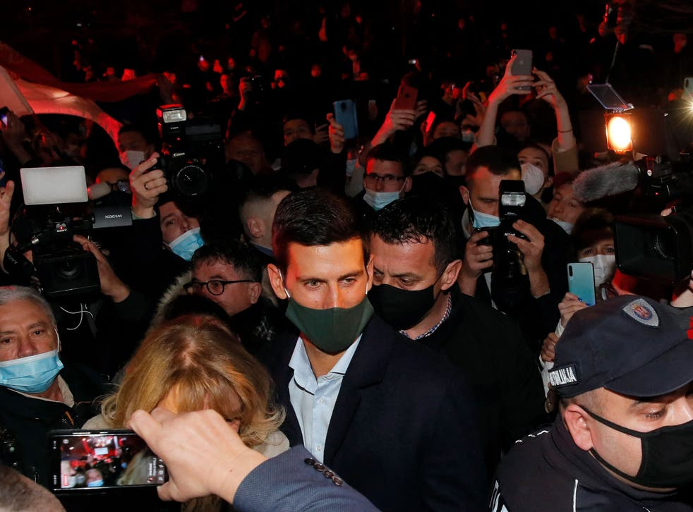 World No 1 Novak Djokovic is surrounded by fans in Belgrade