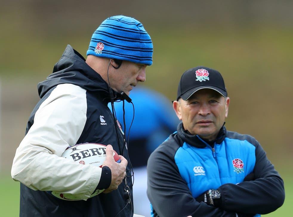England defence coach John Mitchell (left) with head coach Eddie Jones