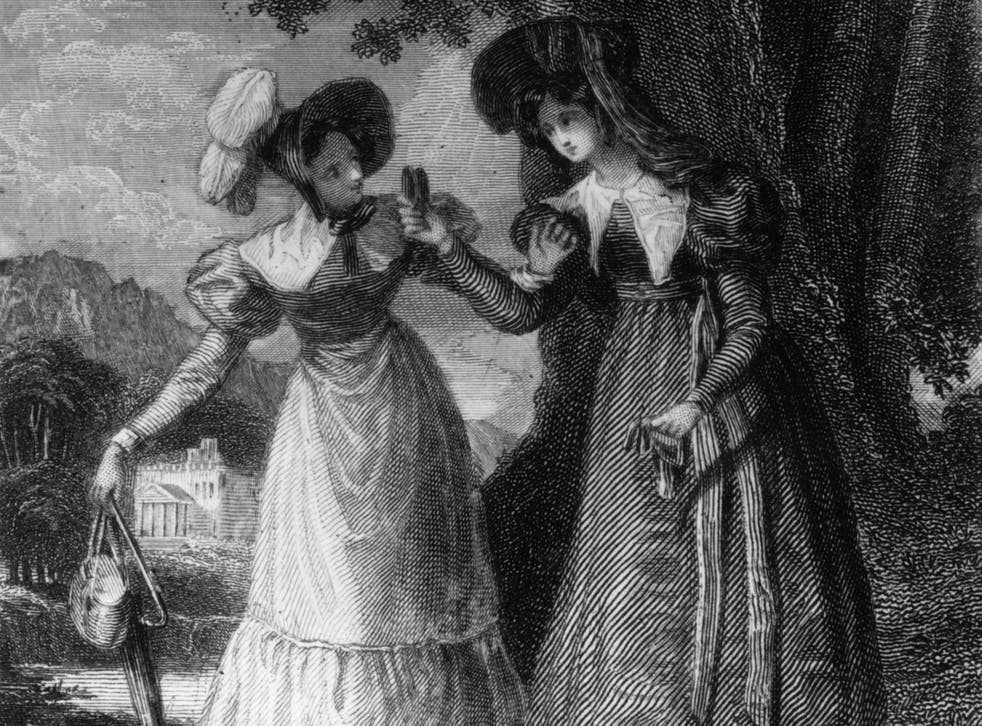 <p>Elinor Dashwood talking to Lucy Steele in a scene from Jane Austen's 'Sense And Sensibility'</p>