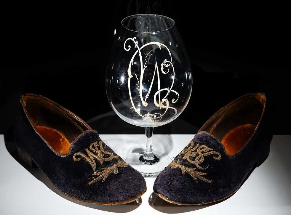 Sir Winston Churchill's velvet slippers and brandy glass