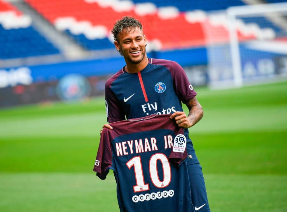 <p>Neymar is unveiled as a PSG player in 2017</p>