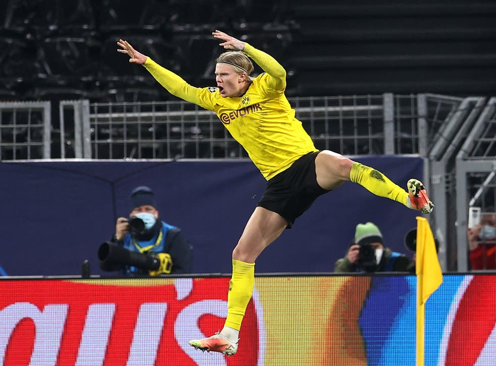 <p>Erling Haaland celebrates his second goal of the night</p>