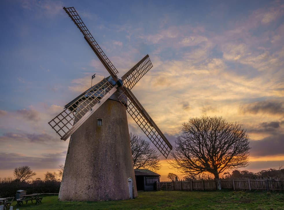 Renovation work on Bembridge Windmill on the Isle of Wight