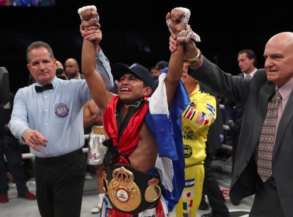 <p>Roman Gonzalez celebrates after beating Khalid Yafai</p>