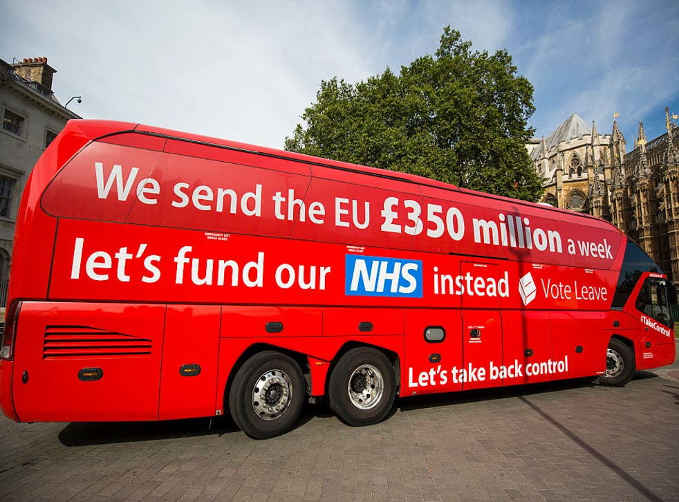 <p>The Vote Leave battle bus outside parliament in 2016</p>