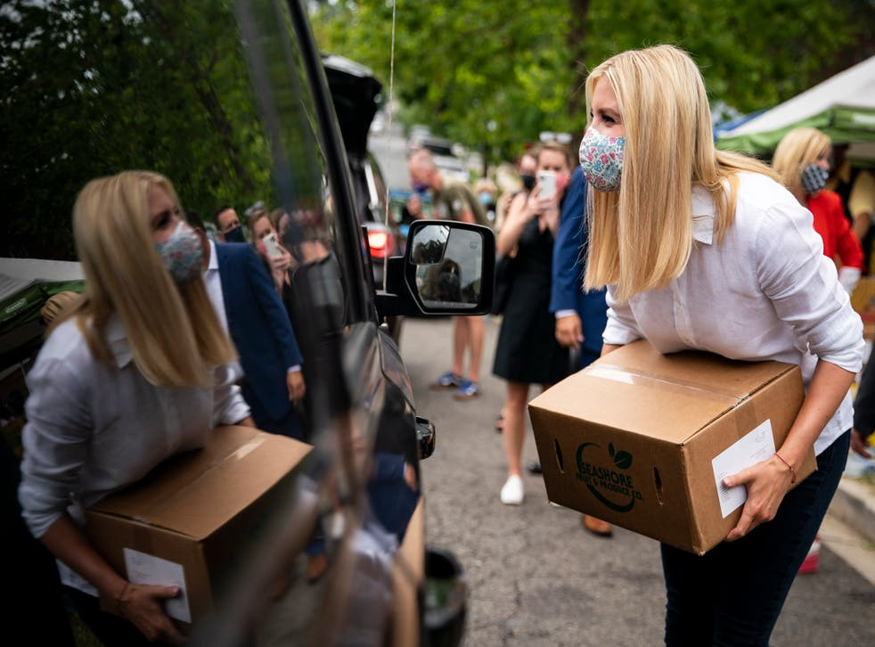 <p>Ivanka Trump helps distribute food boxes as part of the Farmers to Families food box programme, at the DC Dream Center, on 20 July, 2020 in Washington, DC</p>