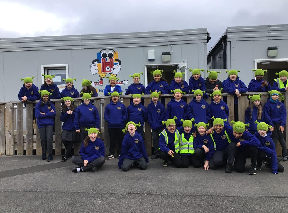 Children at North Ormesby Primary Academy wearing Shrek beanies