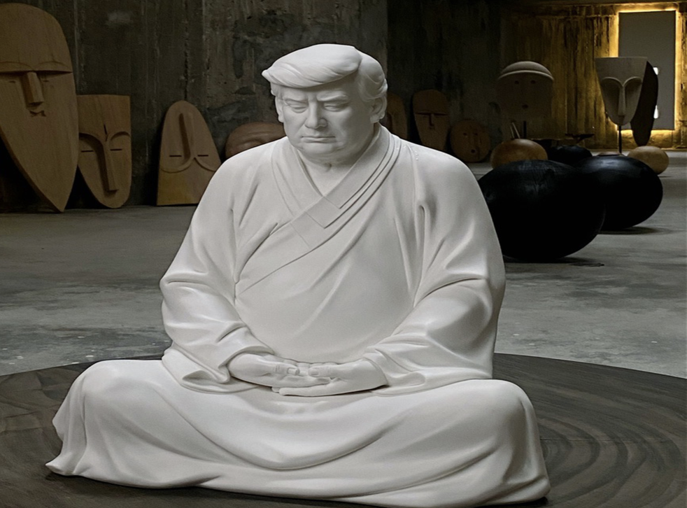 <p>A white porcelain statue of Donald Trump posed like the Buddha is available on the Chinese shopping website Taobao</p>
