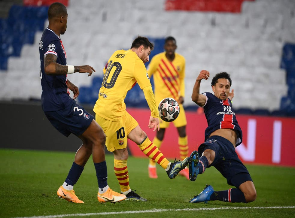Psg Vs Barcelona Result Lionel Messi Scores Stunner Before Penalty Miss In Champions League Exit The Independent