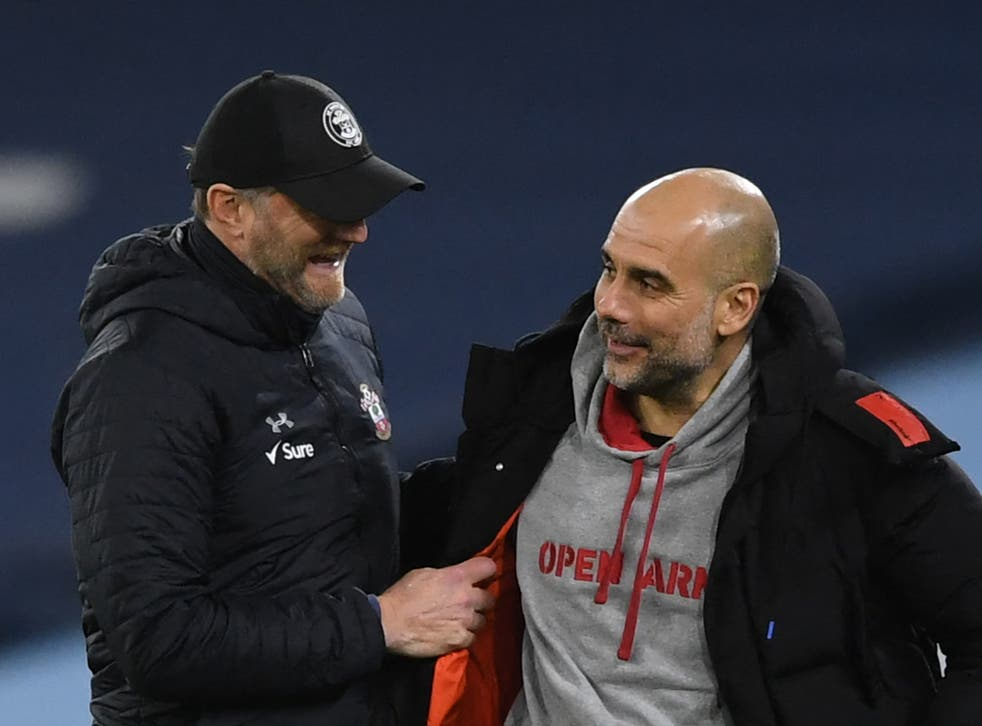 <p>Manchester City coach Pep Guardiola (right) with Southampton manager Ralph Hasenhuttl</p>